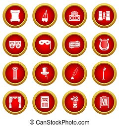 Theater icon red circle set