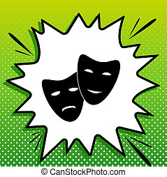 Theater icon with happy and sad masks. Black Icon on white popart Splash at green background with white spots. Illustration.