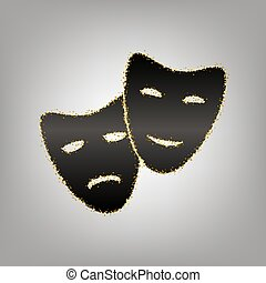 Theater icon with happy and sad masks. Vector. Blackish icon...