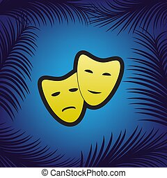Theater icon with happy and sad masks. Vector. Golden icon with