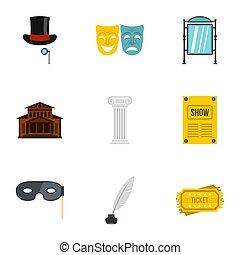 theater, iconen, set, plat, stijl