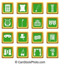 Theater icons set green
