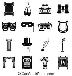 Theater icons set, simple style