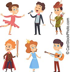 Theater kids. Children making performance at school stage vector funny characters theatre actors in action poses