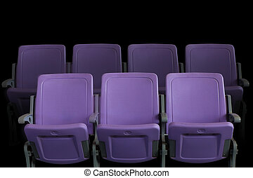 theater, kino, lila, sitze, oder, leerer , hörsal