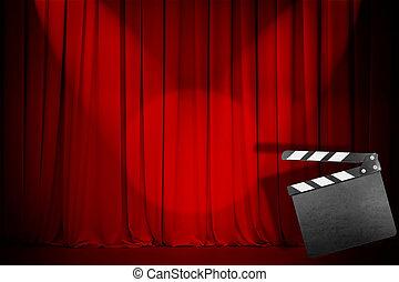 theater, klepel, rood gordijn, lege, plank
