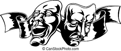 Theater Masks - Illustration of theater comedy and tragedy...