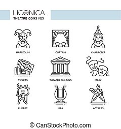 Theater- modern color vector single line design icons set....
