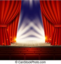 Theater, opera, cinema scene with red curtains vector realistic illustration