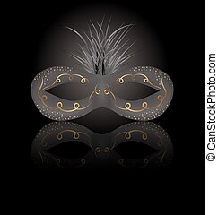 Theater or Carnival mask with reflection on black background
