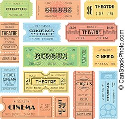 Theater or cinema admit one tickets, circus coupons and vintage old receipt. Retro ticket collection vector design template set