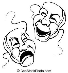 theater, romein, set, masker