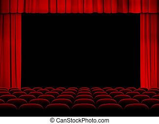theater, rood, gehoorzaal, met, toneel, gordijnen, en,...