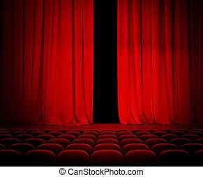theater, rood gordijn, een beetje, open, met, zetels