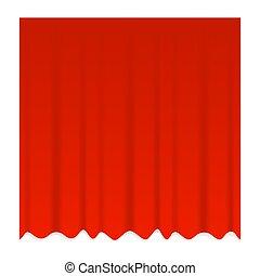 theater, rood gordijn, vector, afsluiten, realistisch, blauwe