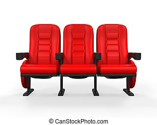 theater, rood, zetel