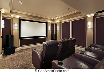 Theater room with lounge chairs - Theater room in luxury...