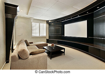 Theater room with wide screen - Theater room in luxury home...