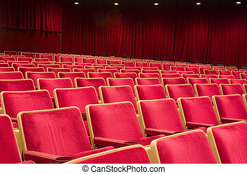Theater seating 1 - Rows of seats in a theater making a...