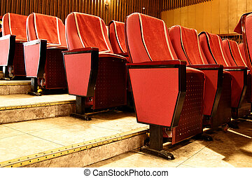 Theater seats - Empty red theater seats close up