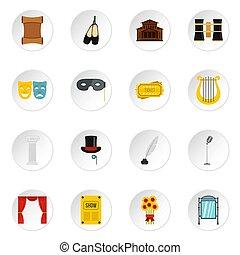 Theater set flat icons