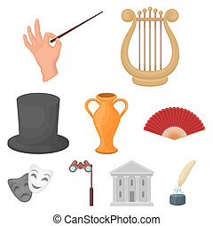 Theater set icons in cartoon style. Big collection of theater bitmap symbol stock illustration
