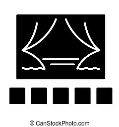 theater show icon, vector illustration, black sign on isolated background