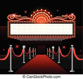Theater entrance sign movie premiere red carpet