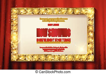 Theater sign or cinema sign on red curtain.