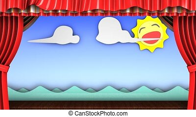 Theater stage - 3d animation, Classic fun children's theater...