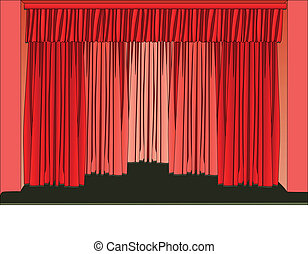 theater stage and curtains - Vector illustration of theater...