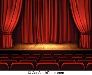 Theater stage background - Theater stage with red velvet...