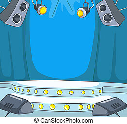Theater Stage Cartoon - Theater Stage with Velvet Curtains. ...