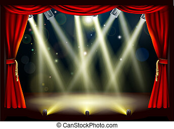 Theater stage lights - Illustration of a theater stage with...