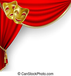 Theater stage. Mesh. - Theater stage with red curtain and...