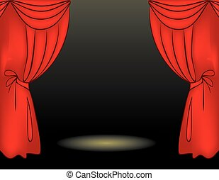 Theater stage red curtain