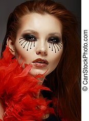 Theater. Stage. Styled Woman's Face with Creative Eye Make-...