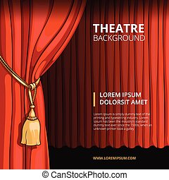 Theater stage with a red curtain. Vintage vector illustration in comic style