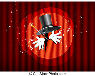 theater stage with magic wand - theater stage with top hat,...