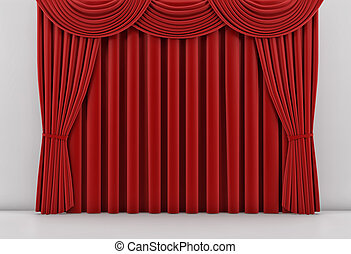 Theater stage with red curtain. 3 d render