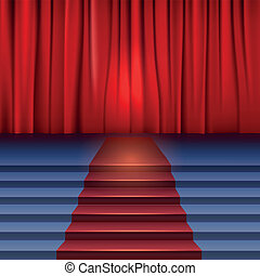 Theater stage with red curtain and carpet.