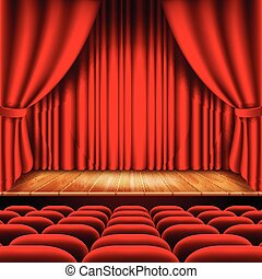 Theater stage with red curtain and seats vector