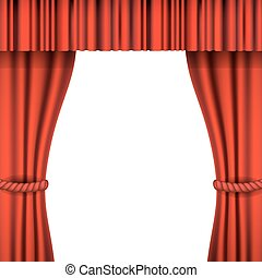 Theater stage with red curtain. Iso