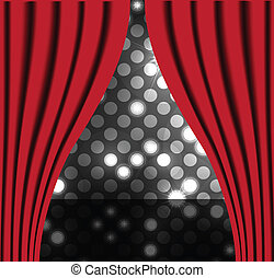 Theater stage with red curtain vector background for poster