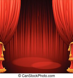 Theater stage with red curtain. Vector illustration