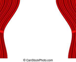 Theater stage with red curtain white background