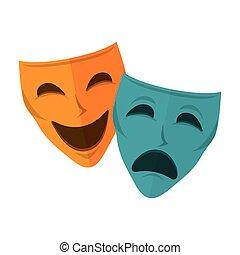 theater upozorowują, odizolowany, ikona