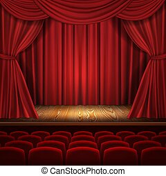 Theater vector concept, classic scene with curtains