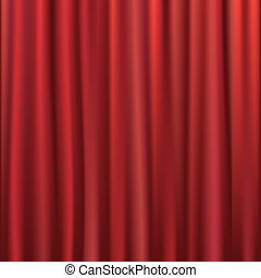 Curtain - Theater Velvet Curtain With Lights And Shadows,...