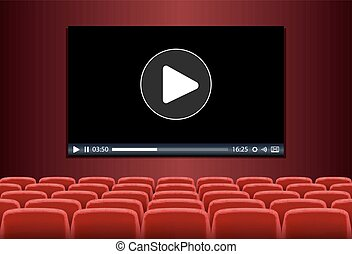 theater with multimedia playing - Rows of red seats in front...